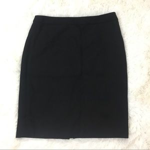 J. Crew Black Lined 100% Wool No. 2 Pencil Skirt